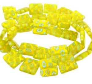 yellow square millefiori glass beads