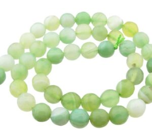 light green banded agate gemstone beads 8mm