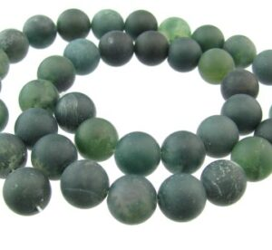 matte moss agate gemstone beads 10mm