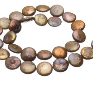 Coffee Brown Coin Freshwater Pearls approx. 13mm [strand]