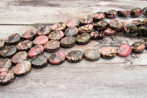 Rhodonite oval beads