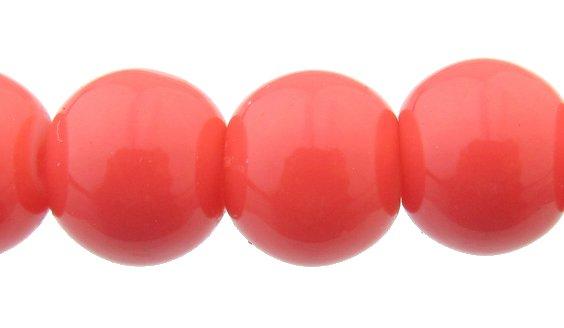 grapefruit pink glass beads 8mm