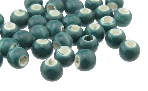 teal ceramic macrame beads