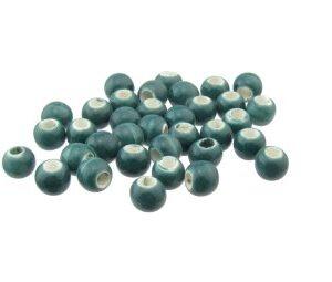teal ceramic macrame beads
