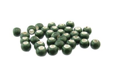 dark green macrame ceramic beads