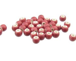 deep pink ceramic round beads 6mm