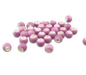 glazed ceramic large hole beads for macrame purple