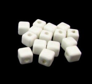 white ceramic cube beads