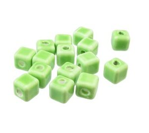 lime green macrame ceramic beads
