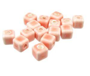 pink ceramic cube beads big hole