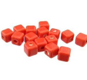 red ceramic cube beads
