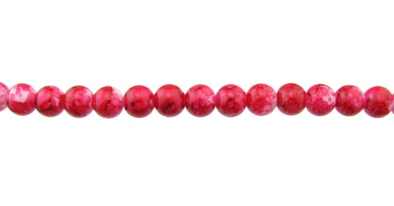 deep pink marble glass beads 8mm
