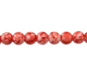 red marble glass beads 8mm