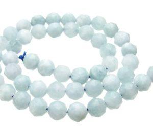 Aquamarine Faceted Round Gemstone Beads 8mm