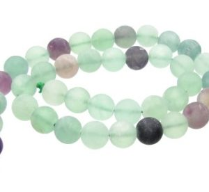 Matte Fluorite Gemstone Rounds 10mm