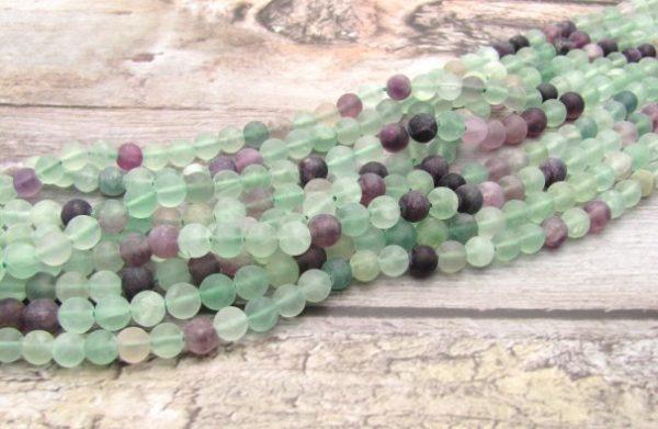 matte fluorite gemstone beads