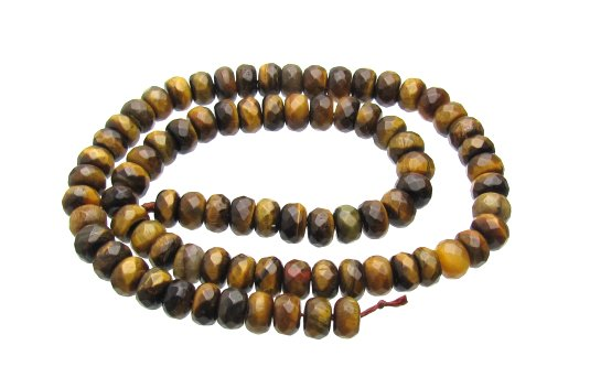Tiger Eye Beads Faceted Rondelle
