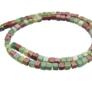 Fancy Jasper 4mm cube beads