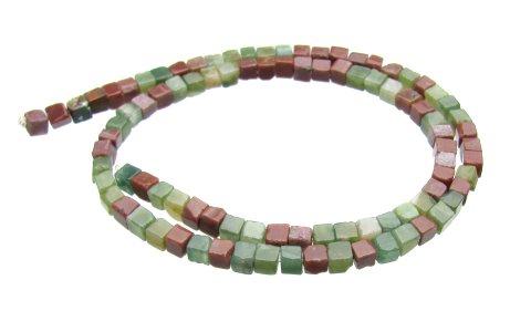 Fancy Jasper 4mm cube beads