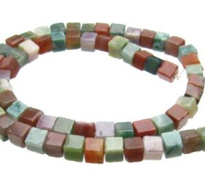 Fancy Jasper Gemstone Cube Beads
