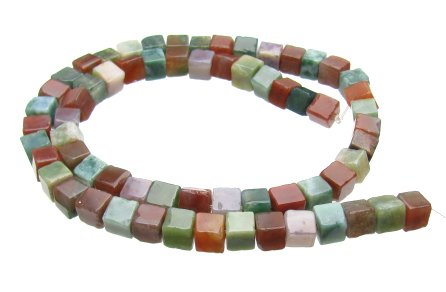 Fancy Jasper Gemstone Cube Beads