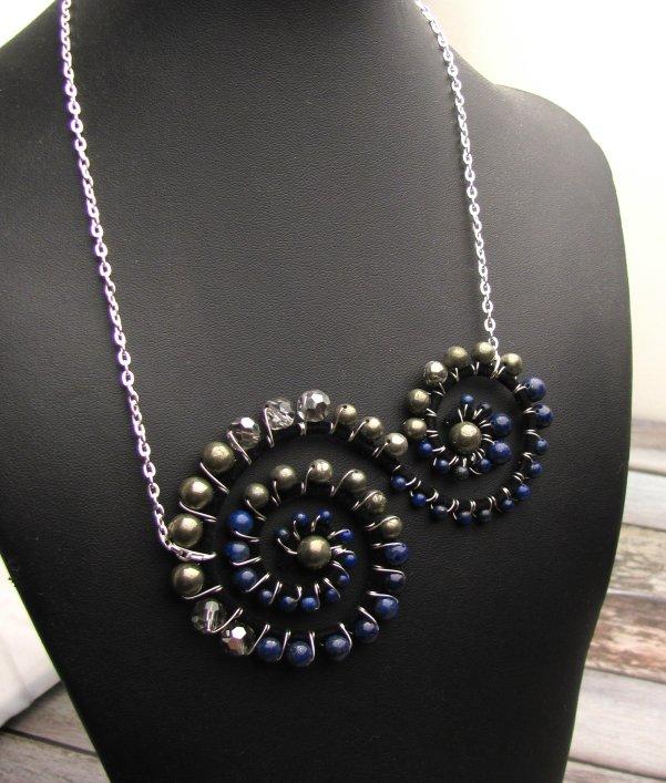 Lapis Lazuli Beads Swirl Necklace Tutorial