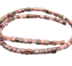 Rhodonite cube beads
