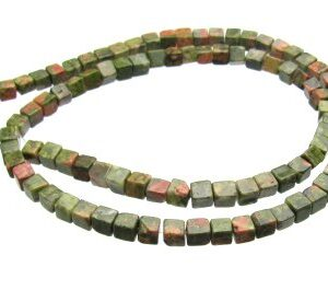 Unakite cube gemstone beads 4mm
