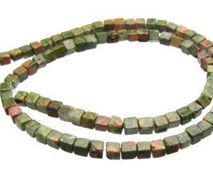 Unakite cube gemstone beads 4mm