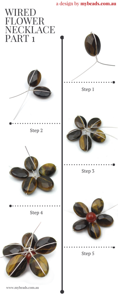 Wired Flower Necklace Tutorial setp 1