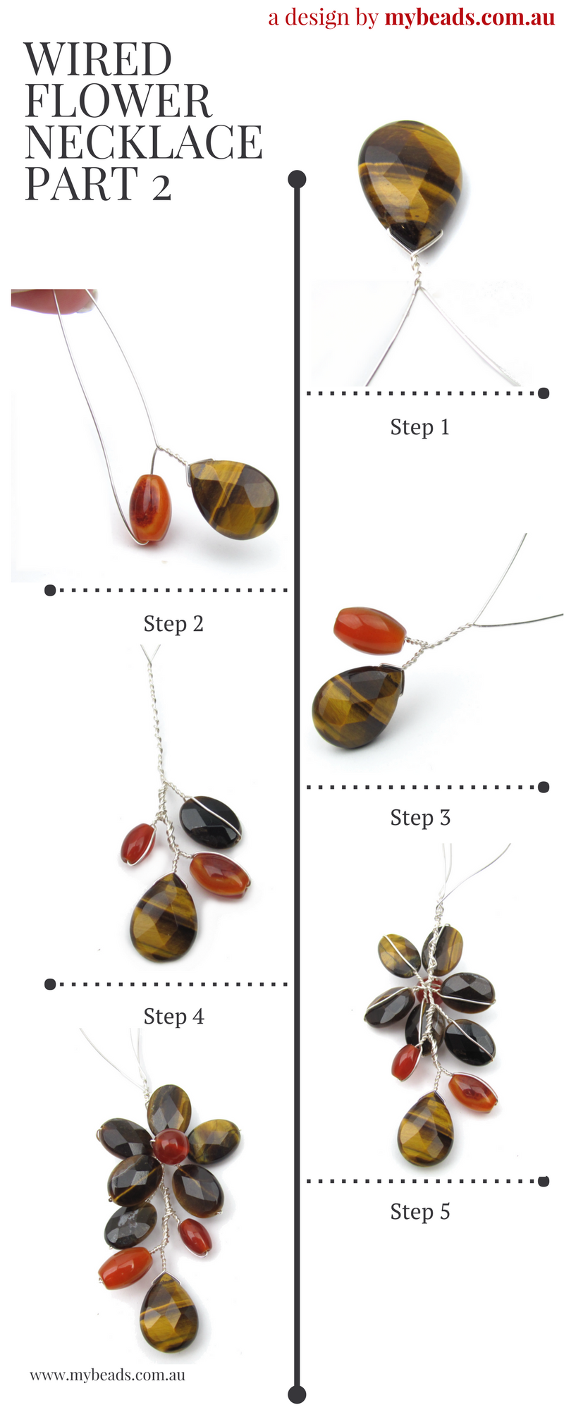 Tiger Eye and Carnelian Wired Flower Necklace Tutorial