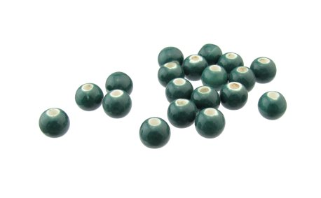 teal ceramic round beads
