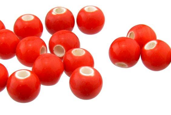 red ceramic round beads 8mm macrame