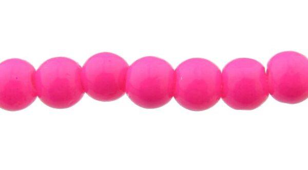 hot pink glass 4mm round beads