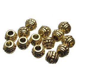 Gold Barrel Metal Beads