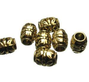Gold Flower Barrel Beads
