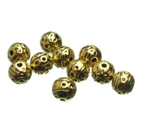 Gold Fancy Round Beads