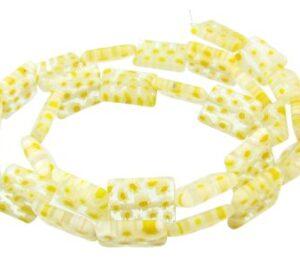 yellow rectangle millefiori glass beads