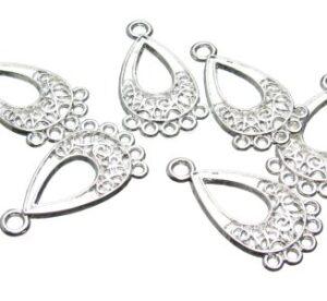 Silver Teardrop Chandelier Earrings