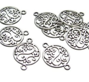 Silver Filigree connectors findings
