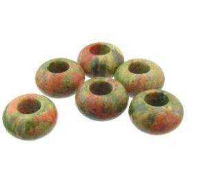 unakite gemstone beads with large hole