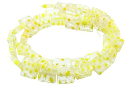 light yellow square millefiori glass beads