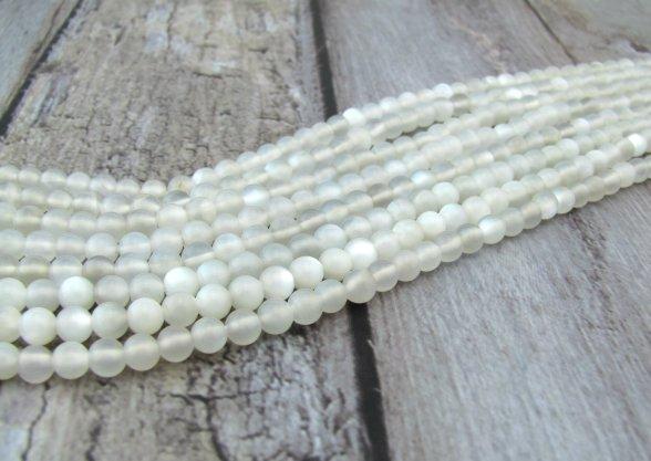 white moonstone 4mm round beads