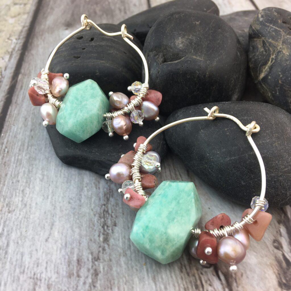 Amazonite and Rhodonite Dangle Earrings Tutorial