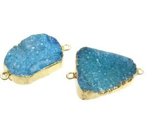 blue drusy gemstone connector