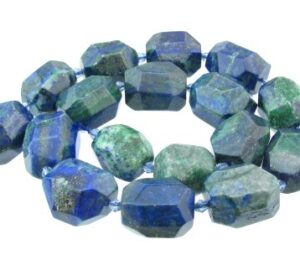 Chrysocolla faceted nugget beads