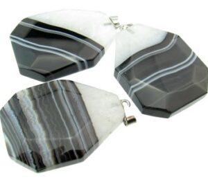 black agate with quartz gemstone pendant