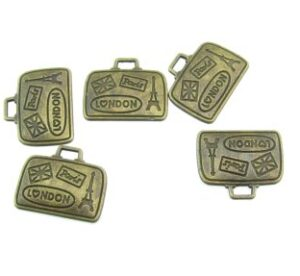 bronze suitcase charms