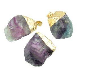 Fluorite rough nugget gemstone pendant