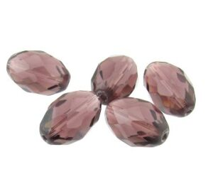 purple fire polished glass oval beads